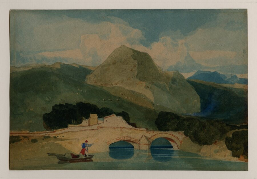 A river spanned by two-arched bridge with a mountain beyond, and two men in a small boat in the left foreground: Called 'Tan y Bwlch'; 'Landscape in Wales'