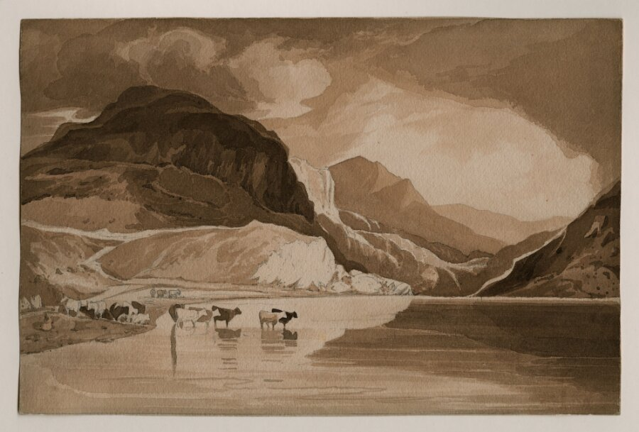 A Mountain Lake with Cattle Watering: Caled 'Llyn Ogwen', North Wales