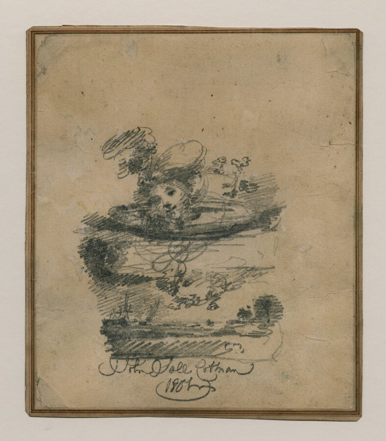 A Head in the Clouds above a Seascape: A design for a frontispiece. Called 'A Fanciful Design'