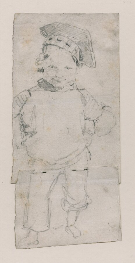 A small boy, aged perhaps two or three, wearing a sailor's cap. ?Possibly a portrait of Francis Walter Cotman (1816-1852)