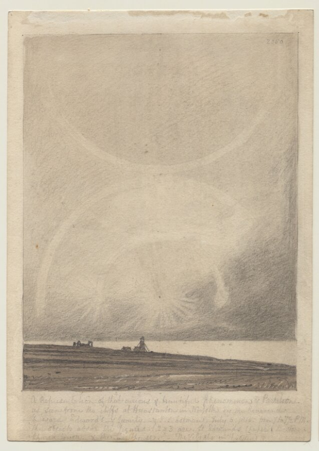 Recto: An Effect of Parhelion seen from Hunstanton Lighthouse on July 6 1816; Verso: Part of a list of prospective subjects for a publication.